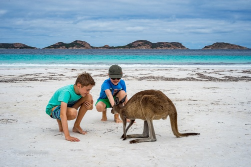 Aidan & Lochie at Lucky Bay Cape Le Grand WA