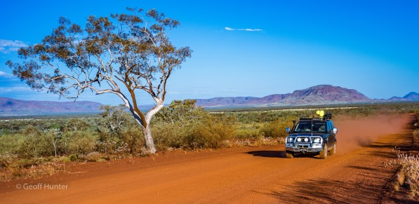 Zooming along a mining road scirting the Karijini NP