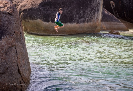 Lochie jumping at Elephant Rocks
