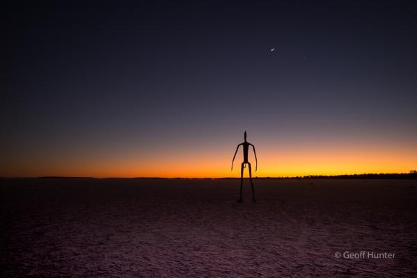 lake Ballard end sculture at pre dawn