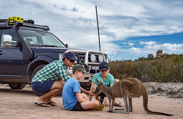 Lochie and Aidan with skip in Lucky Bay carpark