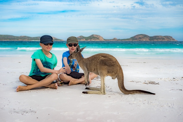 Lochie and Aidan with skip on Lucky Bay beach
