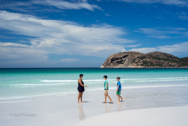 The guys on Lucky Bay beach finding pippies
