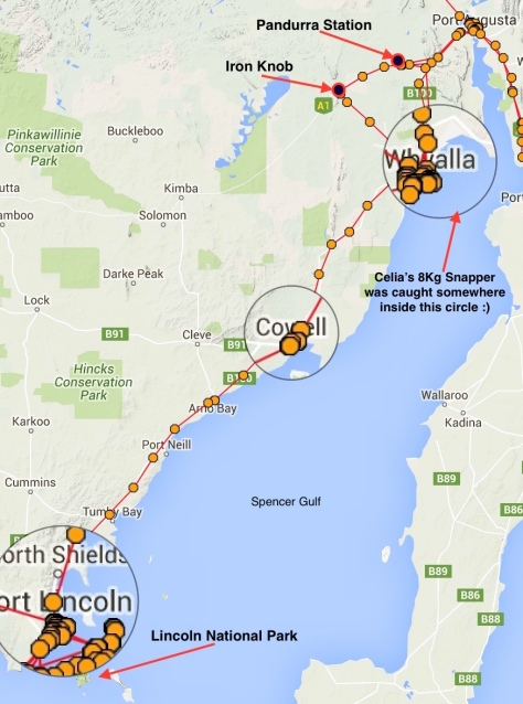 Port lincoln to port Augusta map