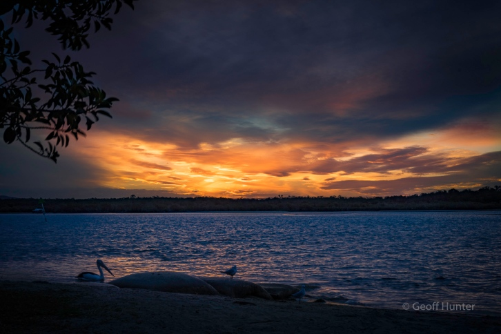 sunset over the Noosa River